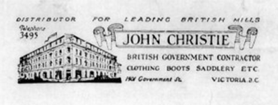 John Christie Ltd. Logo and Address (Courtesy of Daniel Burrows)