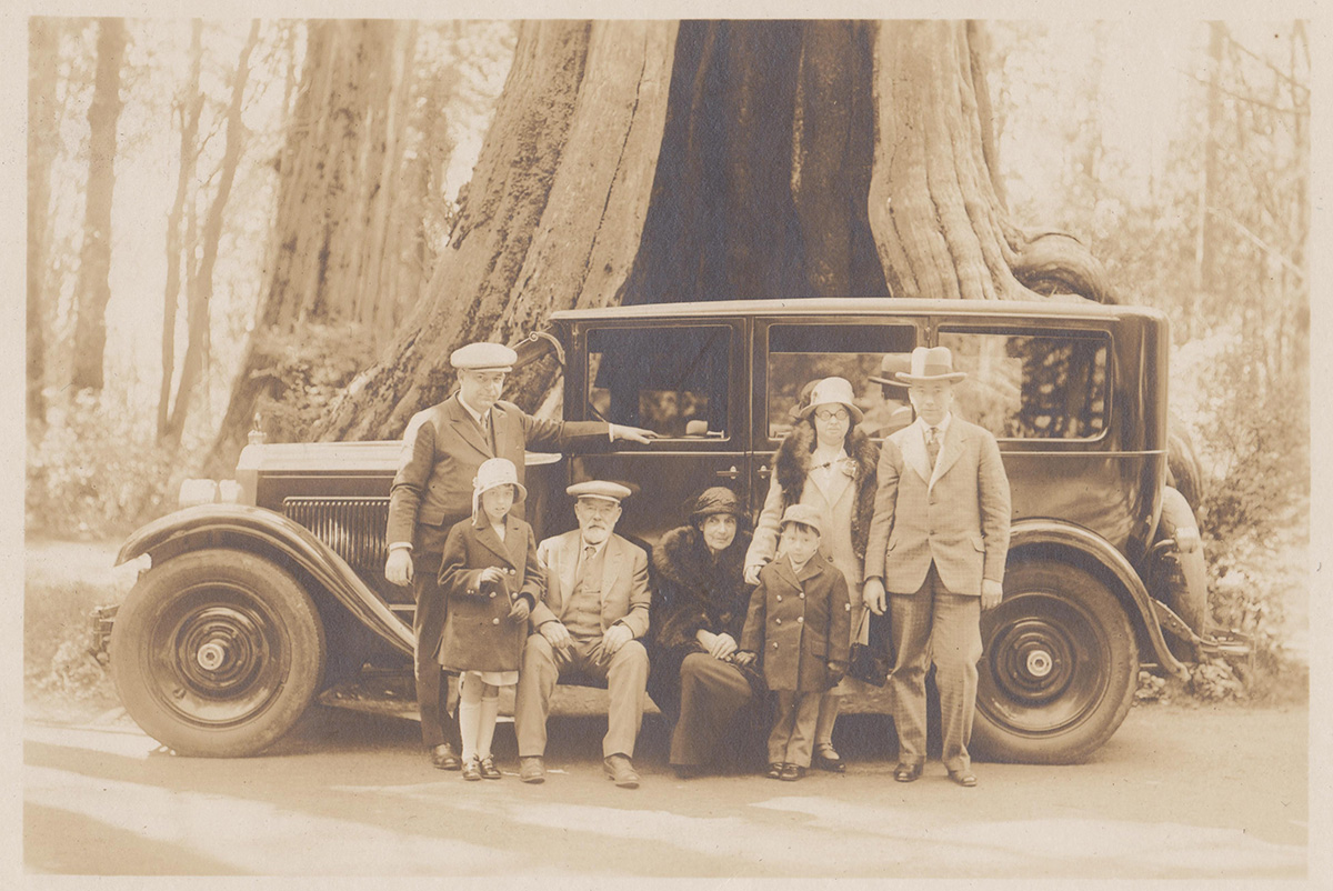 Location: Stanley Park Adults from left to right: John Christie, John Christie-Senior, Ann Christie (John Sr.'s wife), Mary Parsons (maiden name Christie), George William Parsons. Children from left to right: Anne M. Parsons, George C. Parsons (Photo Courtesy of Mr. George C. Parsons)